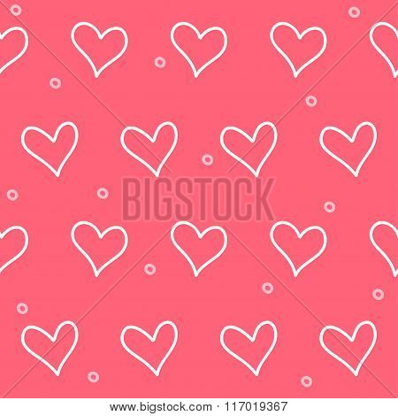 Doodle Romantic Love Seamless Pattern Background.