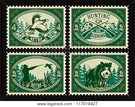 Set Template Of Stamps With Elements For Hunting, Forest, Animals