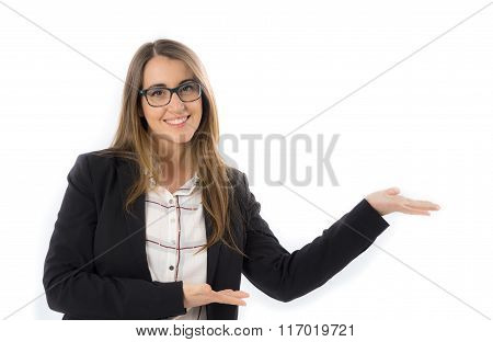 Woman with suit looking at camera and showingcoffee