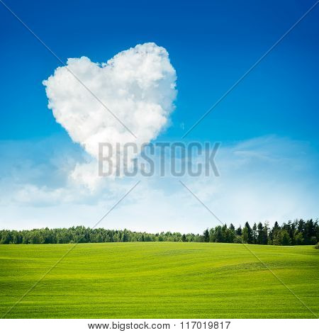 Heart Shaped Cloud and Green Field Landscape