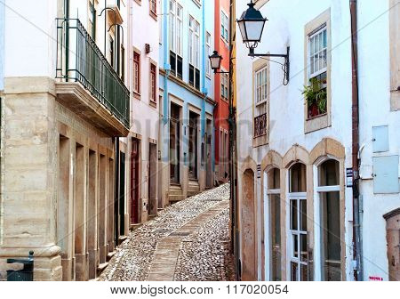 Old And Narrow Street In Coimbra, Portugal