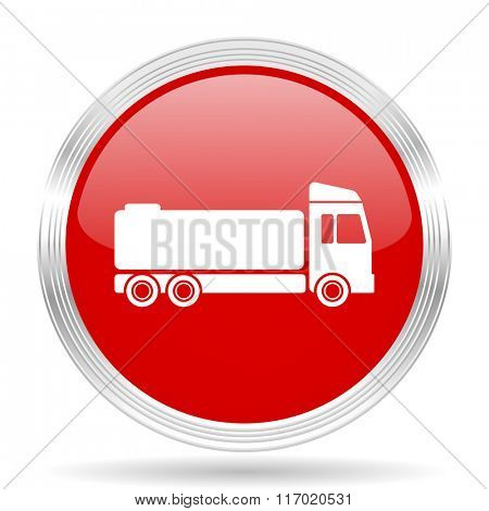 truck red glossy circle modern web icon on white background