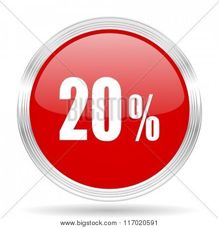 20 percent red glossy circle modern web icon on white background