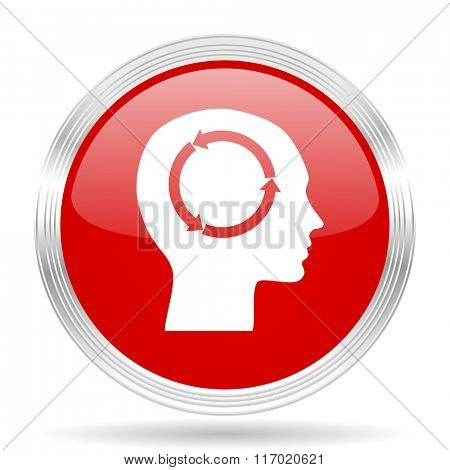 head red glossy circle modern web icon on white background