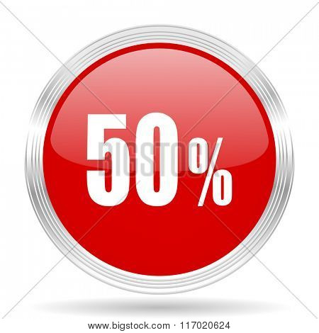 50 percent red glossy circle modern web icon on white background