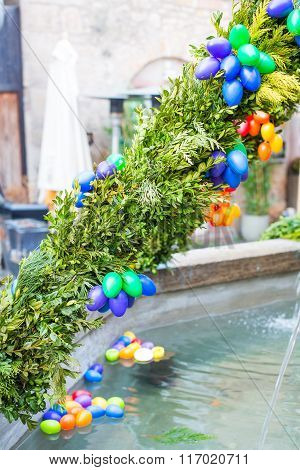 Water fountain in Germany, decorated with traditional Easter egg