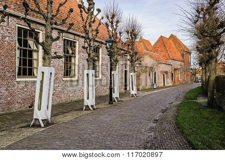 Village Street In The Open-air Museum In Enkhuizen, The Netherlands