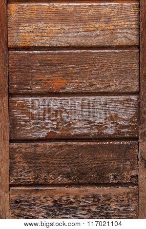 Wooden door painted brown paint