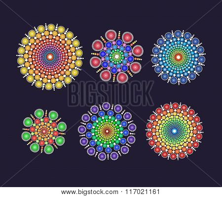A Set Of Fancy Circular Multicolored Dotted Ornament Graphic Elements For Design And Single Use.