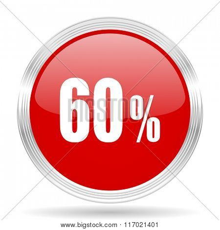60 percent red glossy circle modern web icon on white background