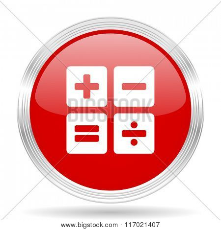 calculator red glossy circle modern web icon on white background