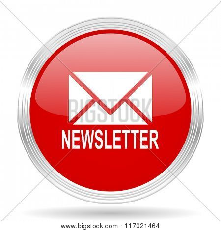 newsletter red glossy circle modern web icon on white background