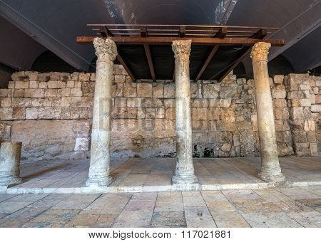 Ancient Columns In Jerusalem