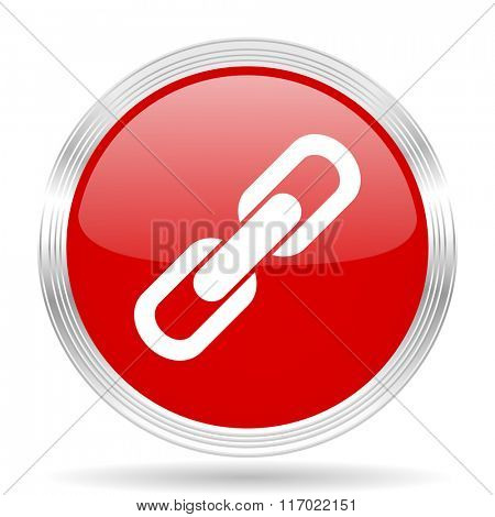 link red glossy circle modern web icon on white background