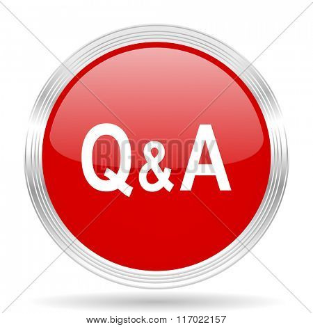 question answer red glossy circle modern web icon on white background