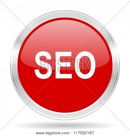 seo red glossy circle modern web icon on white background