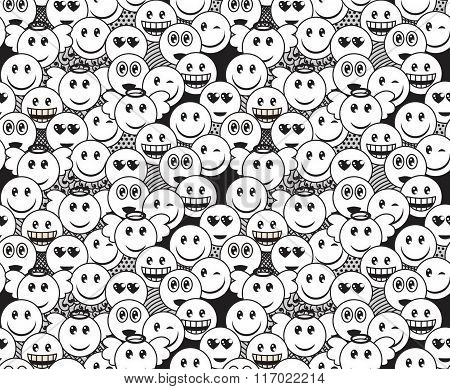 Seamless Black And White Doodle Pattern With Fun Positive Emoticon Expressions. Smile, Wink, Angel,