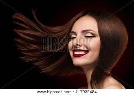 Closeup Shot Of Beautiful Young Woman Smiling