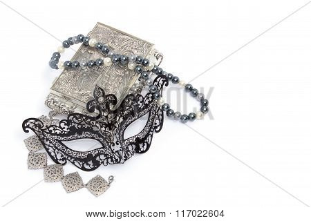 Black Carnivale Mask With Silver Bracelet And Box, And Pearl Neclace Isolated On White