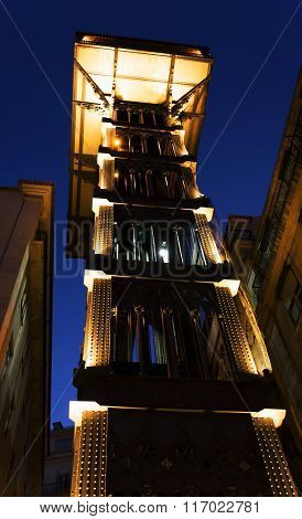 The Santa Justa elevator in the city of Lisbon, Portugal, Europe