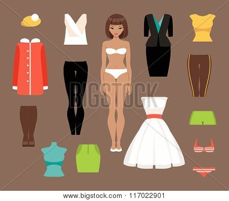 Paper Doll And A Set Of Clothes. Vector Illustration
