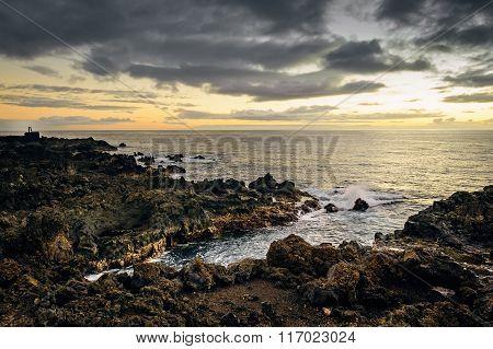 Sunset Over The Atlantic Ocean, La Palma, Canary Islands, Spain