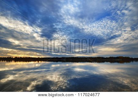 River Landscape with beautiful cloudy sky reflection