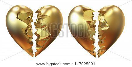 Broken golden heart