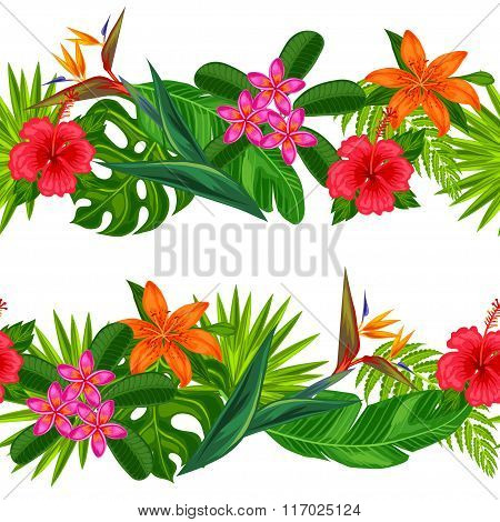 Seamless horizontal borders with tropical plants, leaves and flowers. Background made without clippi