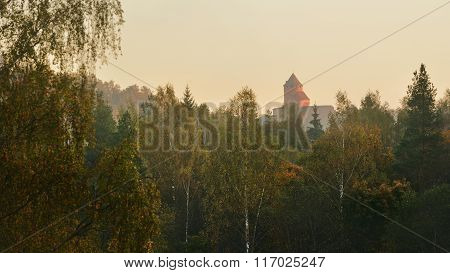 View On Turaida Castle And Gauja Valley In Autumn In Sigulda, Latvia