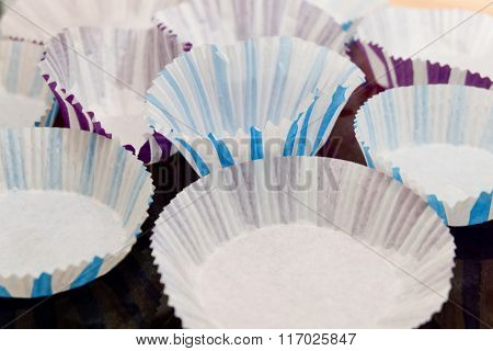 Empty Paper Baking Cups On A Tray