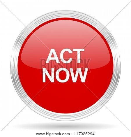 act now red glossy circle modern web icon on white background