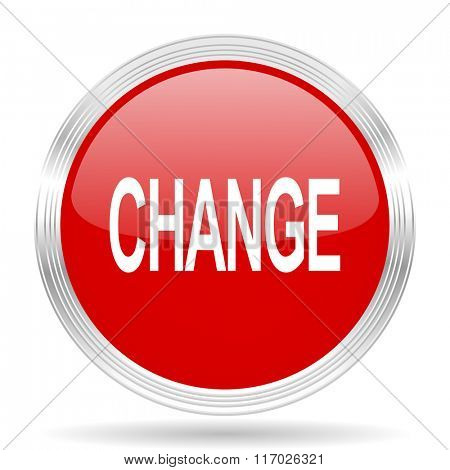 change red glossy circle modern web icon on white background