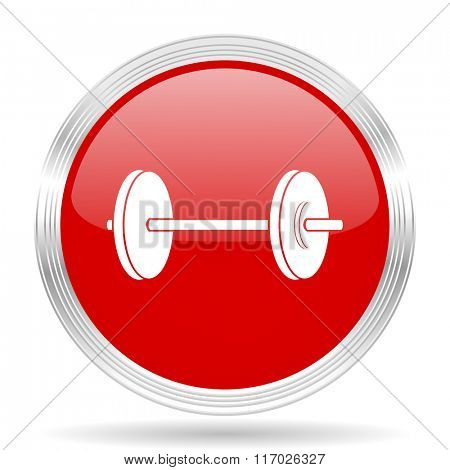 fitness red glossy circle modern web icon on white background