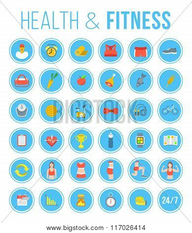 Fitness Gym And Healthy Lifestyle Flat Round Vector Icons