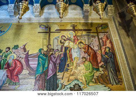 Jerusalem, Israel - October 22, 2015: interior of Holy Sepulchre Church in Jerusalem