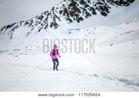 Winter Running Woman. Trail Runner Inspiration, Sport And Fitness