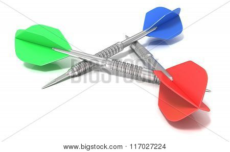 Set of darts arranged in triangle isolated on white background. Side view