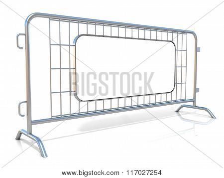Steel barricades isolated on white background. Side view with sign board
