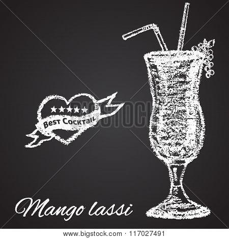 Chalk painted illustration of Mango lassi cocktail. Best cocktail theme.