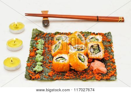 Set Of Sushi Roll On Nori With Chopstick