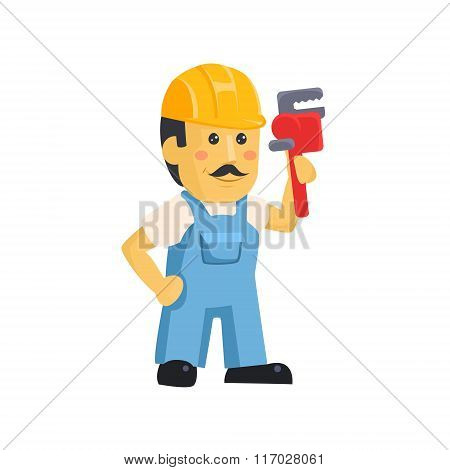 Vector clipart picture of a male mechanic cartoon character holding huge wrench