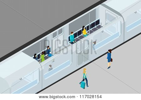 Underground People And Train Illustration