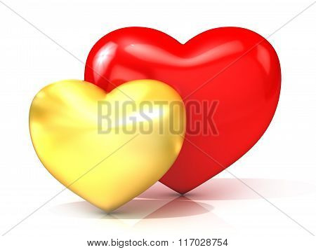 Red and gold hearts. 3D