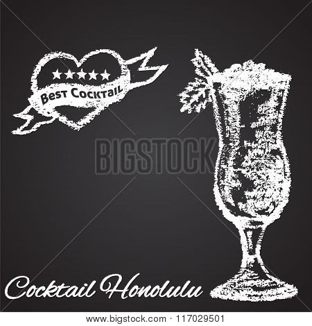 Chalk painted illustration of Honolulu cocktail. Best cocktail theme.