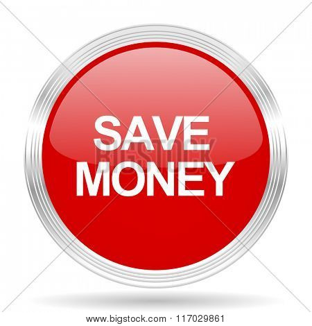 save money red glossy circle modern web icon on white background