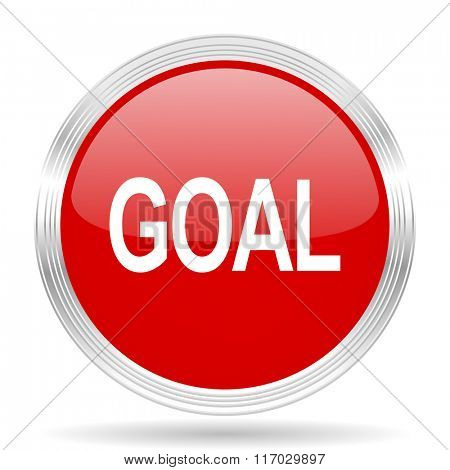 goal red glossy circle modern web icon on white background