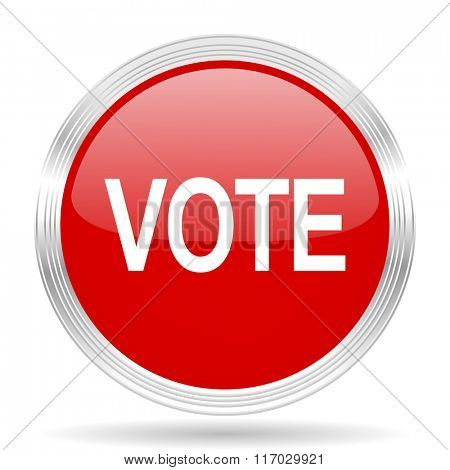 vote red glossy circle modern web icon on white background
