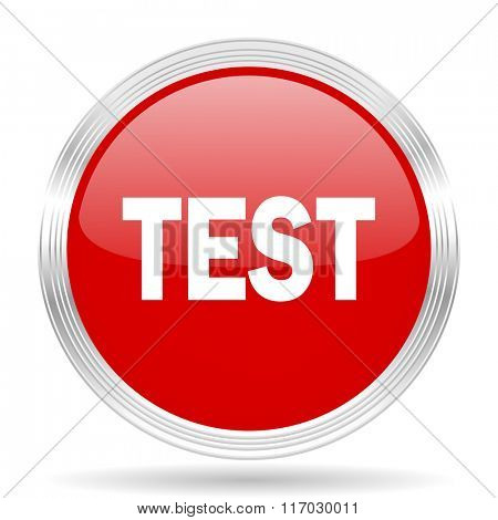 test red glossy circle modern web icon on white background
