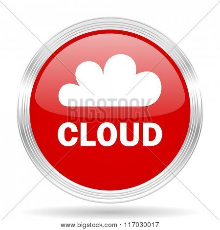 cloud red glossy circle modern web icon on white background